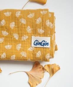 Double gauze muslin - swaddle - tetra pokrivac - Mustard Ginkgo